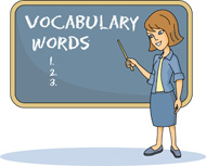 Teacher at Chalkboard Vocabulary Words